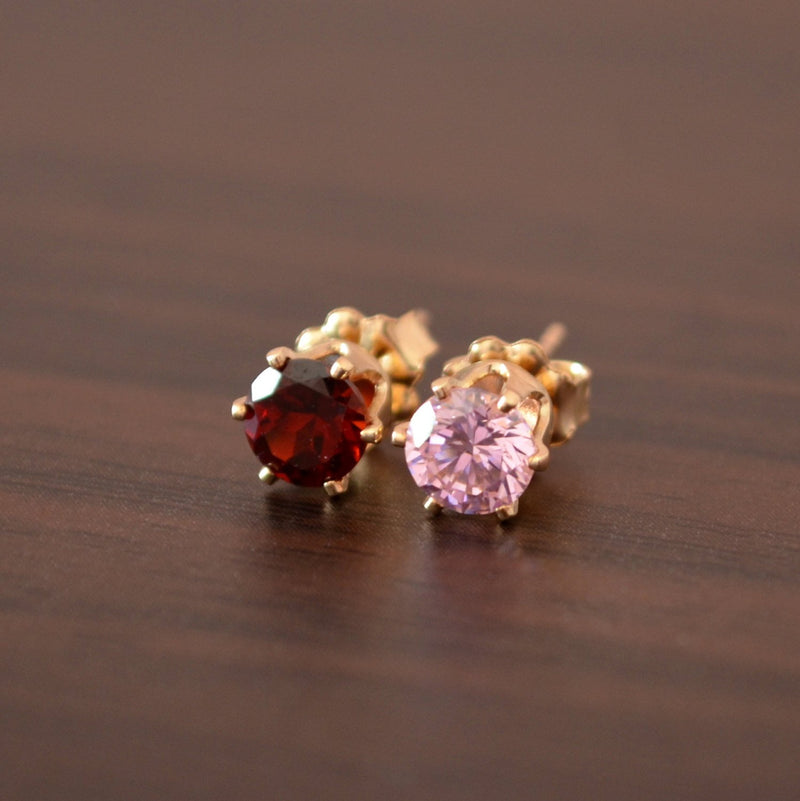 Mismatched Studs with Pink Cubic Zirconia and Garnet