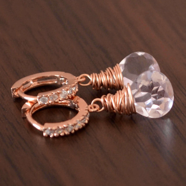 Rose Gold Huggie Earrings with Morganite Quartz - Pink Ice