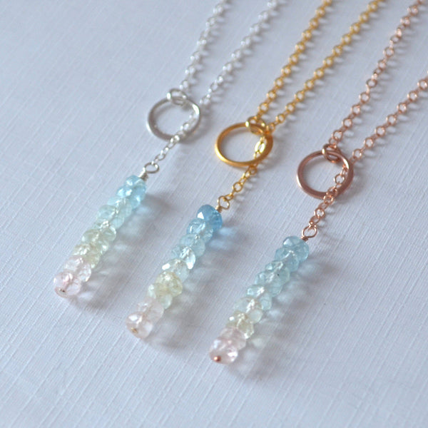 Aquamarine Lariat Necklace