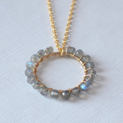 Labradorite Necklace with Grey Gem Stone Pendant