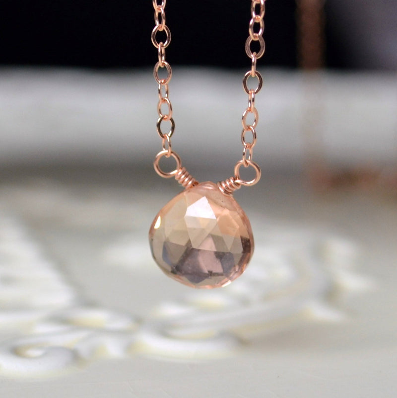 champagne quartz gemstone necklace