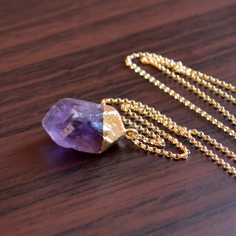 Long Raw Amethyst Necklace