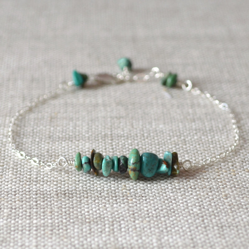 Real Turquoise Bracelet with Gemstone Chips