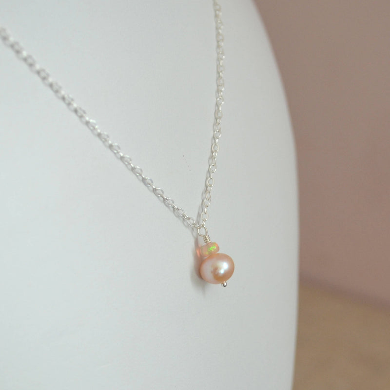 Opal and Pink Pearl Drop Necklace