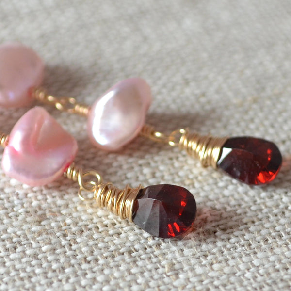 Pink Pearl and Garnet Earrings for Valentine's Day - Long Romance