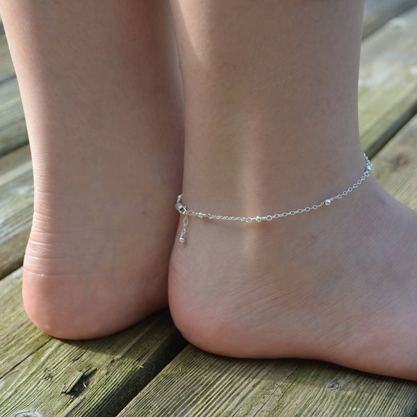 Sterling Silver Anklet, Teen Jewelry, Beaded Ankle Bracelet, Simple Minimalist, Fashion Accessory, Teen Gift, Summer Jewelry, Beach