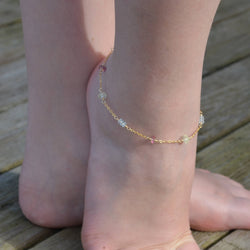 Gemstone Anklet, Blue and Pink Topaz, and Prehnite
