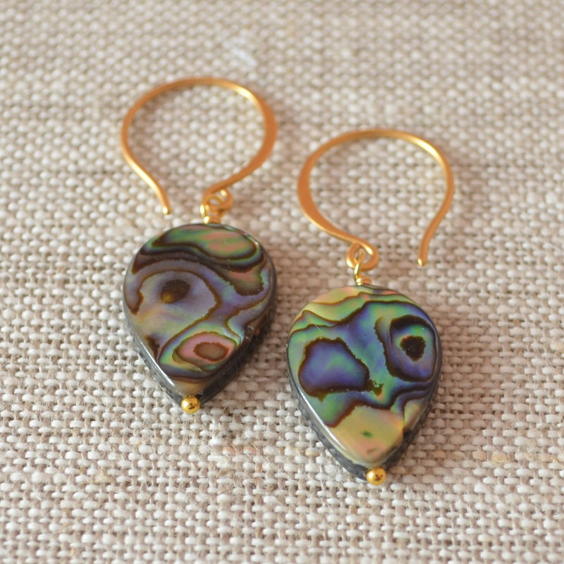 Abalone Drop Earrings with Paua Shells