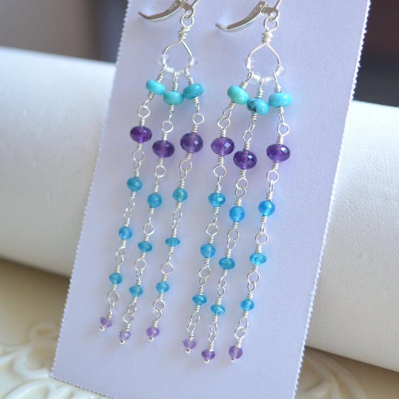 Long Gemstone Earrings with Turquoise Amethyst Apatite