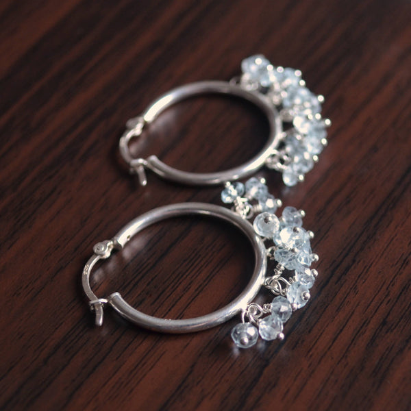 Sky Blue Topaz Hoop Earrings