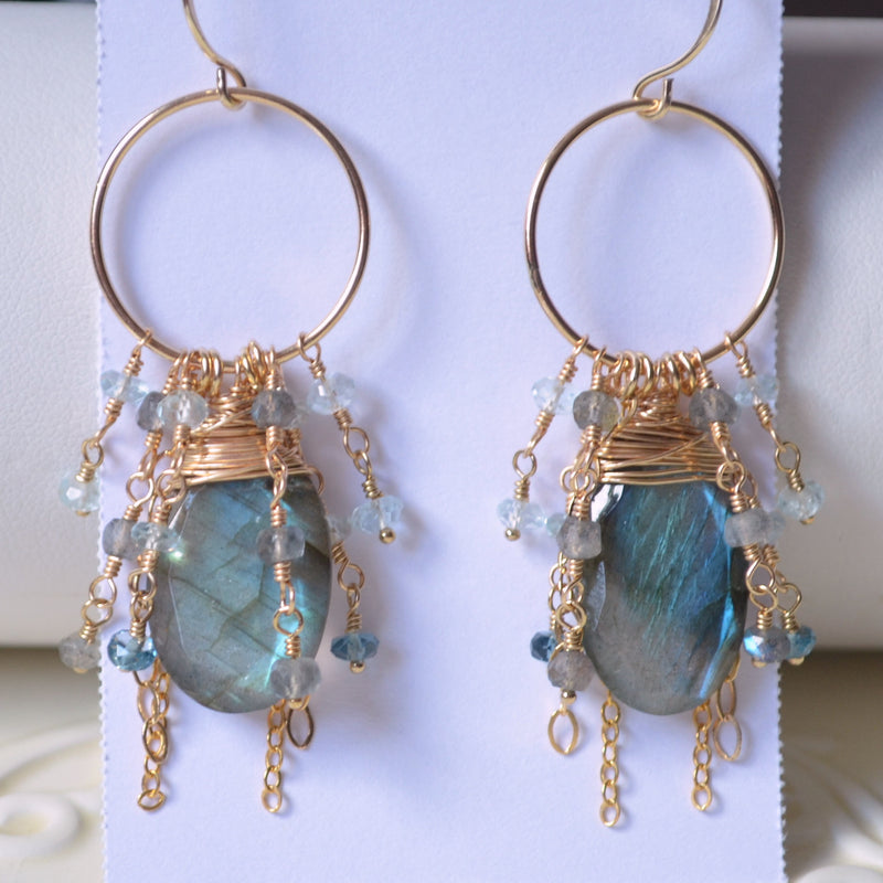 Labradorite Earrings and London Blue Topaz
