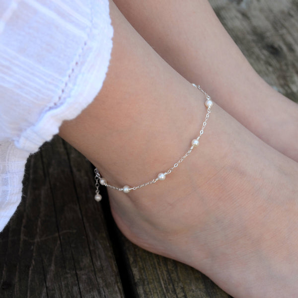 White Pearl Anklet, Sterling Silver, Tween or Teen Jewelry, June Birthstone, Birthday Gift, Wire Wrapped, Ankle Bracelet, Dainty, Feminine