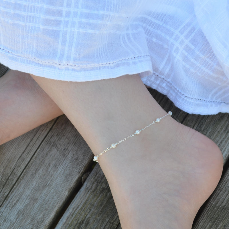 White Pearl Anklet in Sterling Silver for Tweens or Teens