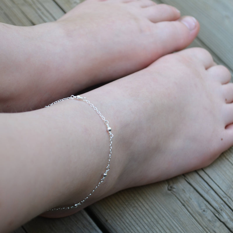 Sterling Silver Beaded Anklet for Teens