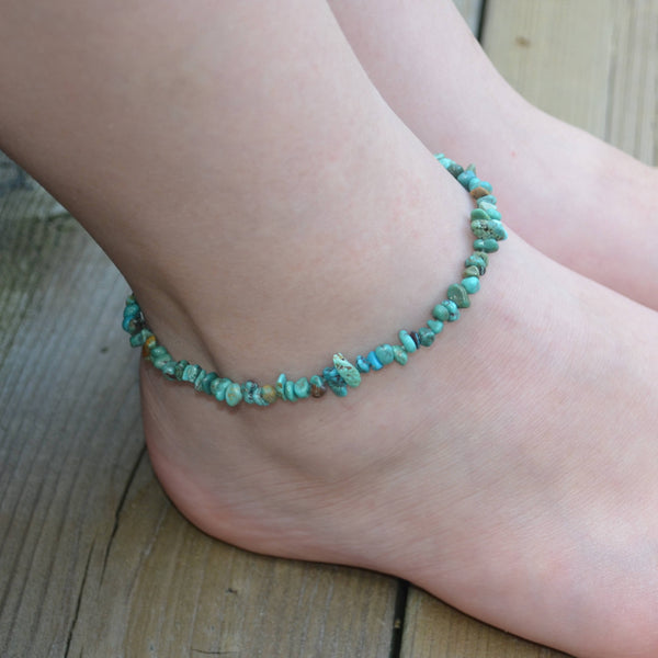 Real Turquoise Stretch Anklet for Teens