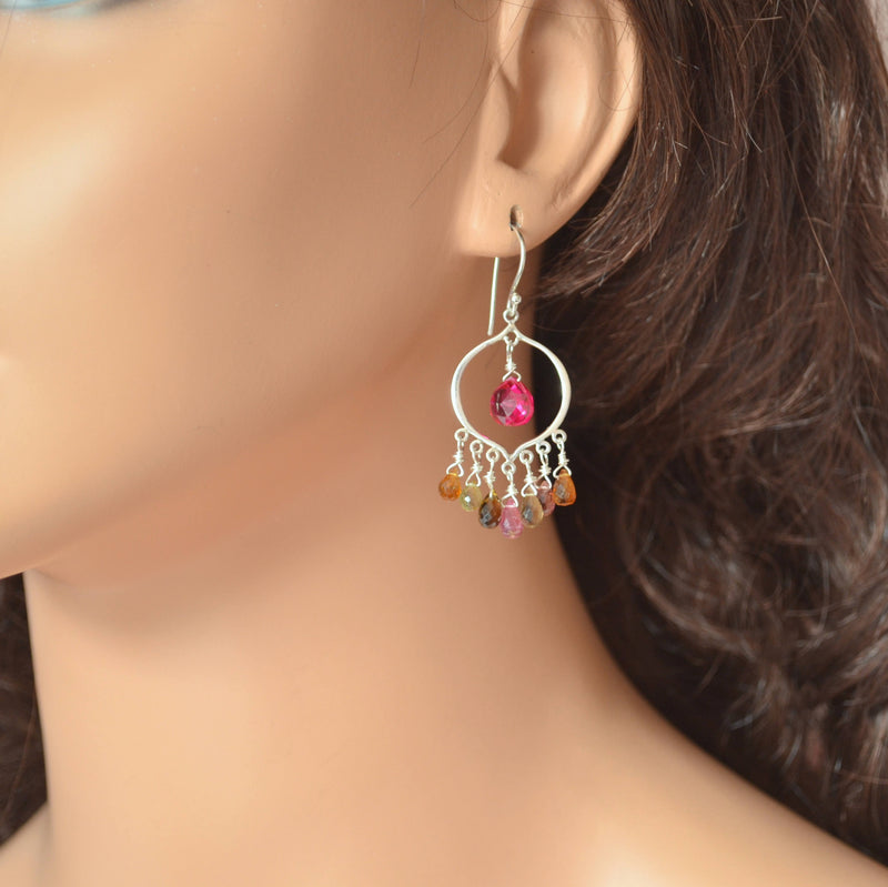 Chandelier Earrings with Real Tourmaline, and Bright Hot Pink Quartz