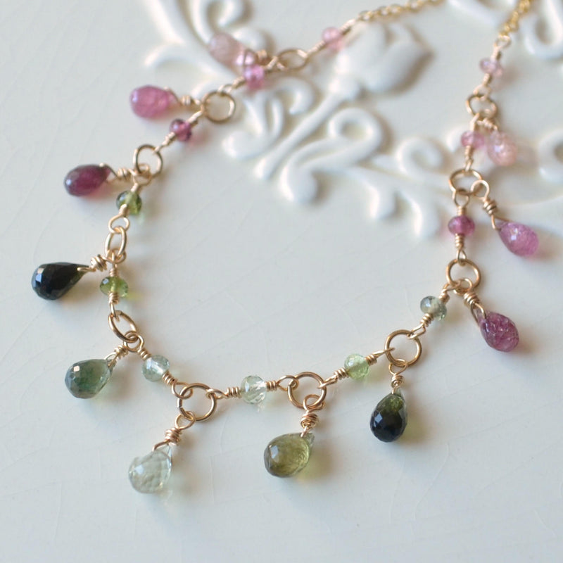 Real Tourmaline Necklace, Pink and Green Gemstone Drops