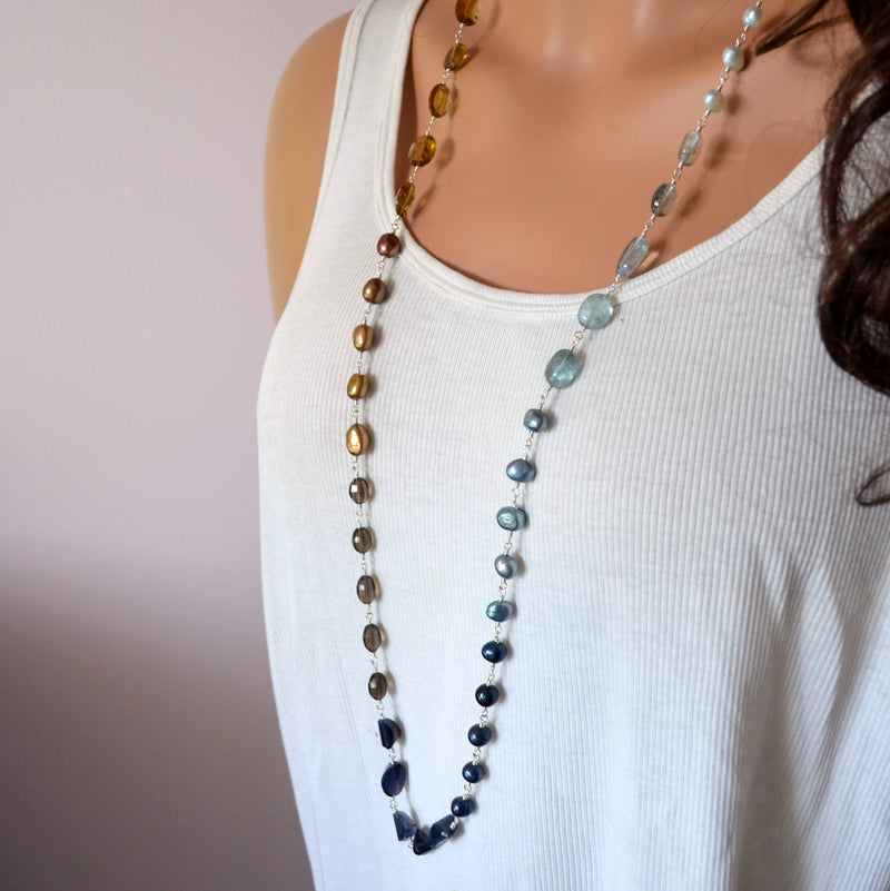 Long Gemstone Necklace with Moss Aquamarine and Freshwater Pearl - Changing Sands