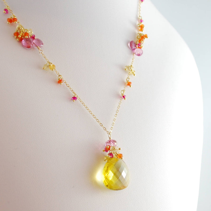 Lemon Quartz Necklace for Summer Bride - Citrus
