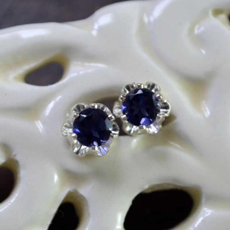 Iolite Stud Earrings with Flower Posts