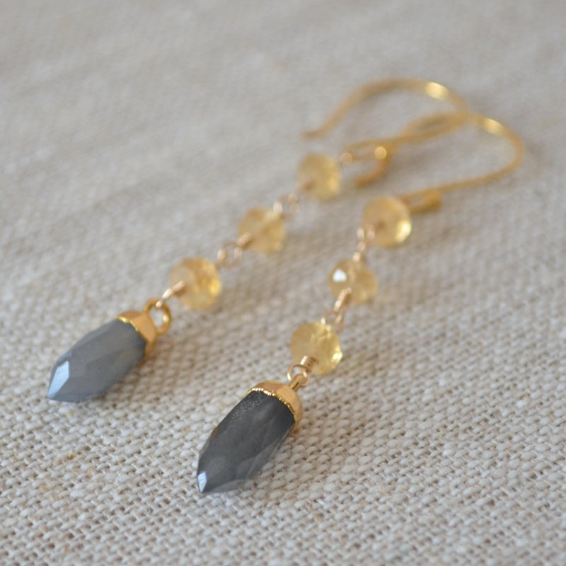 Citrine and Grey Moonstone Earrings