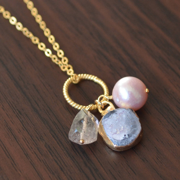 Grey Druzy Necklace with Moss Amethyst Gemstone