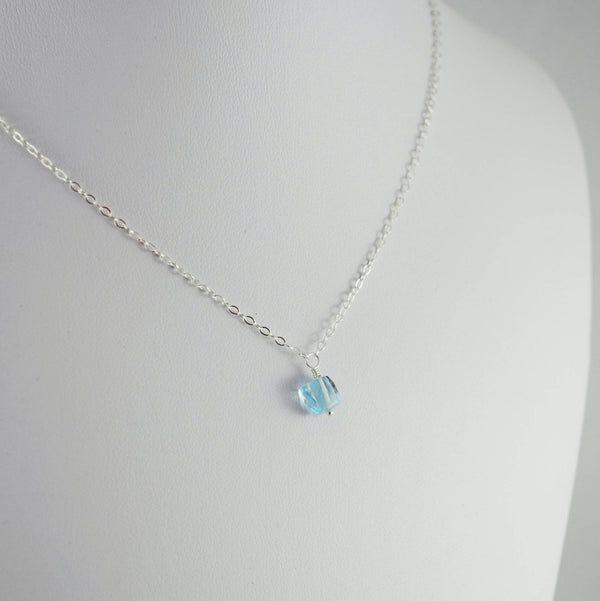 Real Blue Topaz Cube Necklace