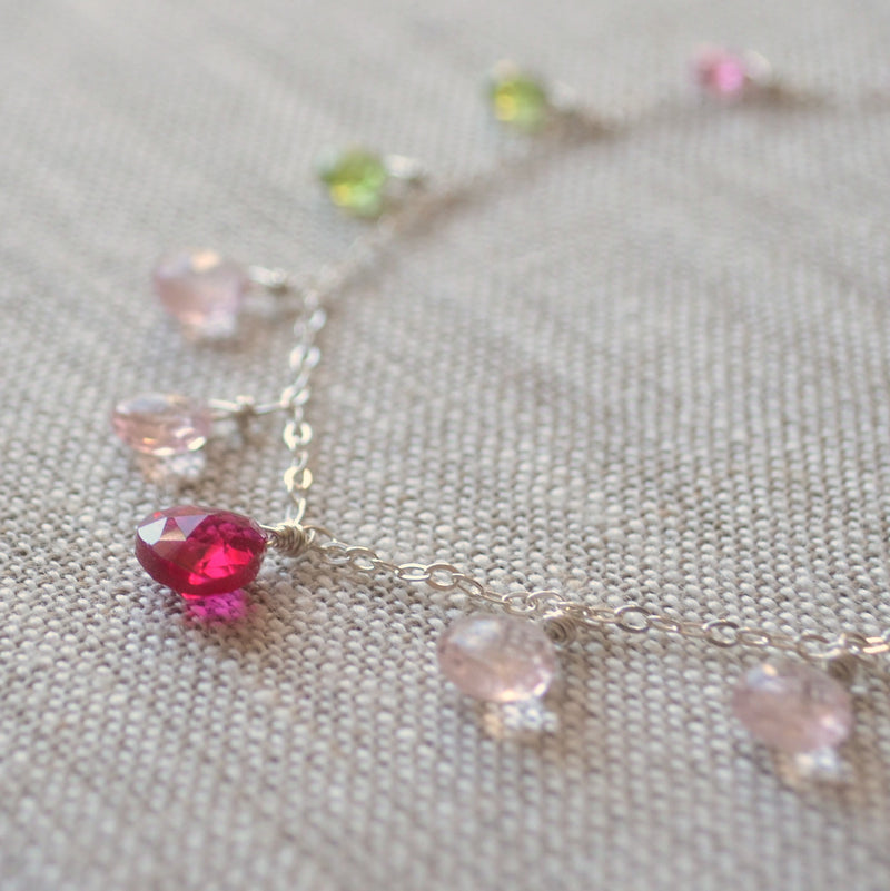 Pink and Green Gemstone Necklace