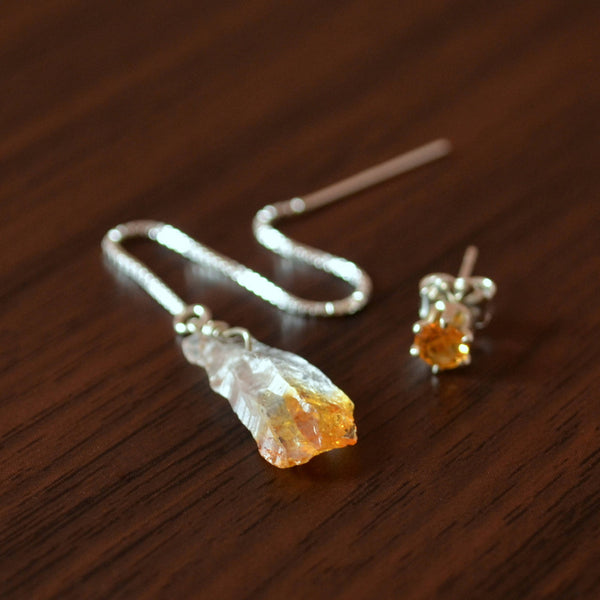 Raw Citrine Earrings for Teens with Matching Stud