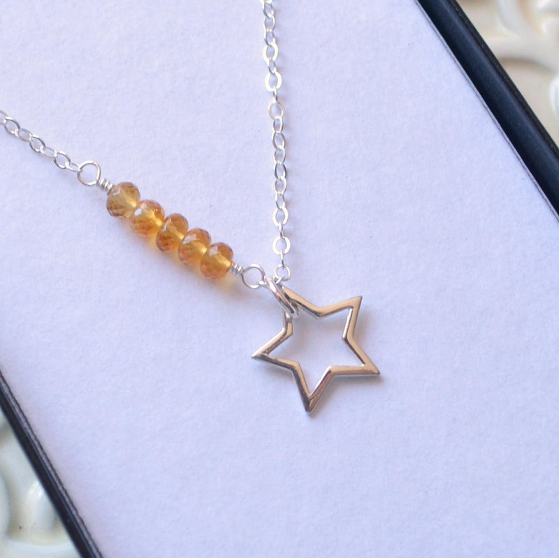 Star Necklace with Citrine Gemstones