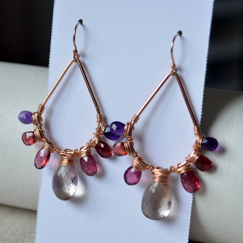 Bold Gemstone Earrings with Rose Gold