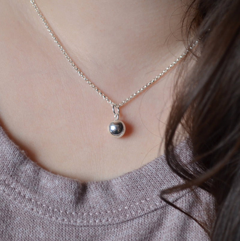 Jingle Bell Necklace in Sterling Silver