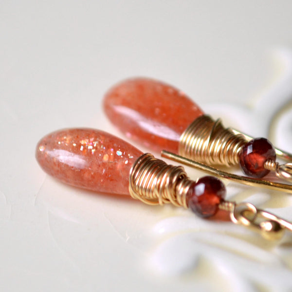Sunstone Earrings, Garnet Gemstones