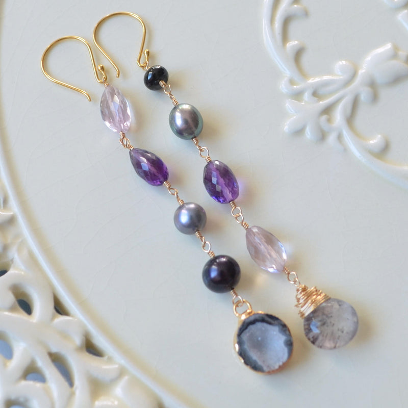 Long Mismatched Earrings with Amethyst and Real Peacock Pearls