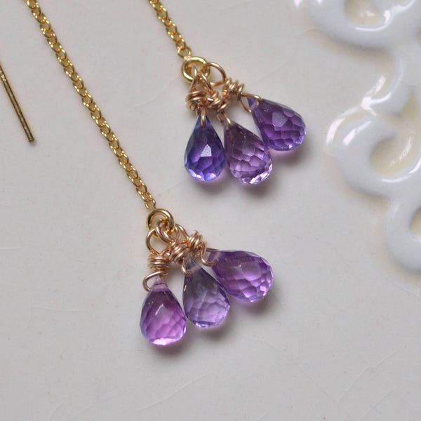 Gemstone Threader Earrings with Purple Kunzite Quartz
