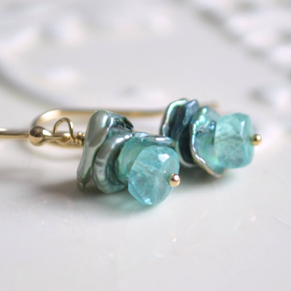 Apatite Earrings with Aqua Gemstone and Sage Green Keshi Keishi Pearls