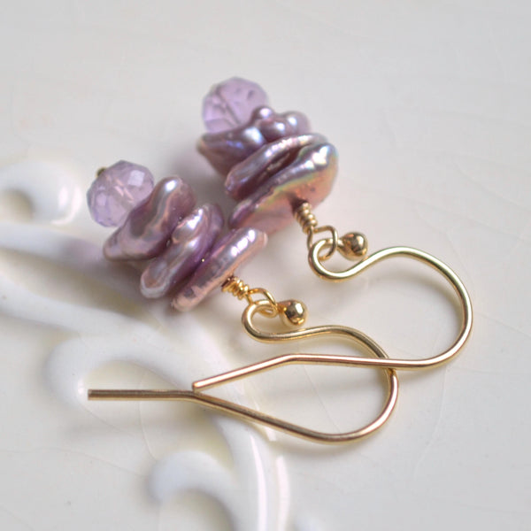 Lavender Pearl Earrings and Amethyst Gemstones