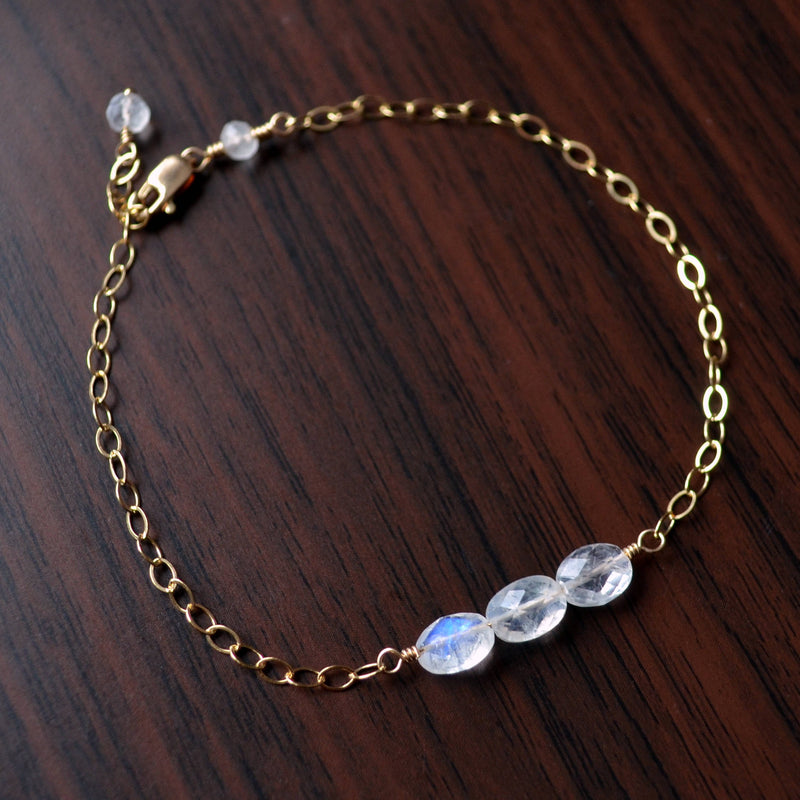 Rainbow Moonstone Bracelet in Gold for Teens