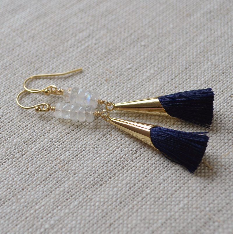 Navy Tassel Earrings and Real Moonstone Stacks