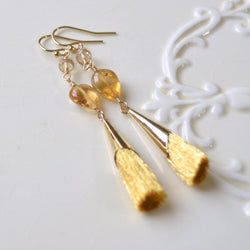 Long Gold Tassel Earrings and Real Champagne Citrine