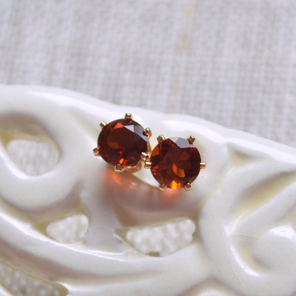 Orange Citrine Stud Earrings