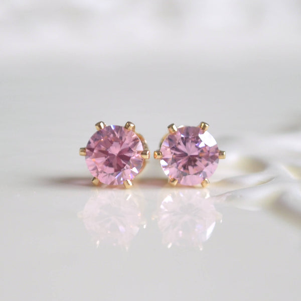 Pink Stud Earrings with Cubic Zirconia