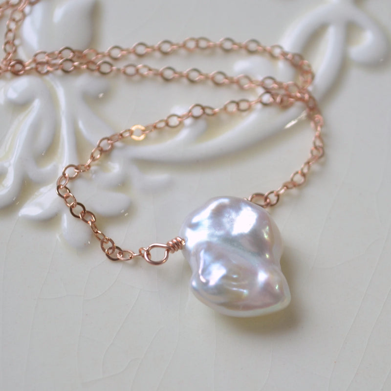 White Keishi Pearl Necklace, Rose Gold