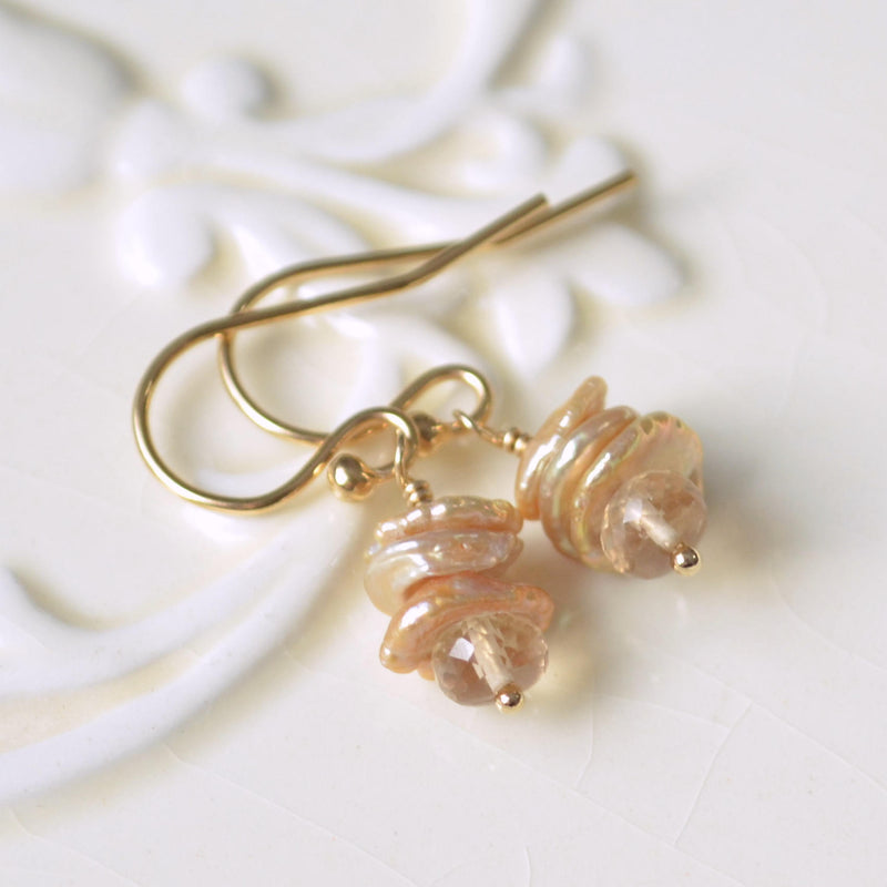 Petite Champagne Pearl Earrings with Citrine Gemstones