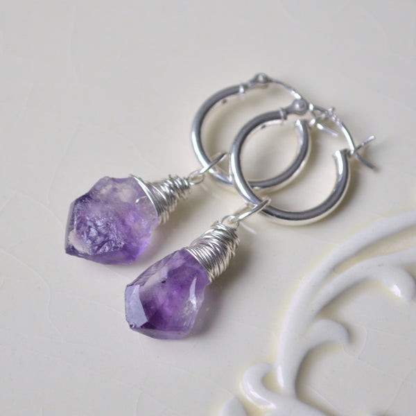 Sterling Silver Hoops with Raw Amethyst Stones