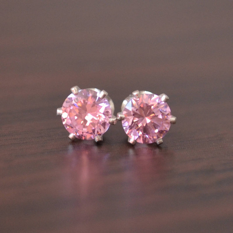 Pink Gemstone Stud Earrings