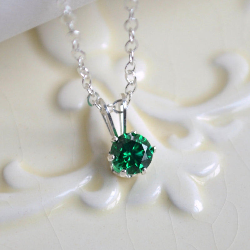 May Birthstone Necklace with Emerald Green Cubic Zirconia