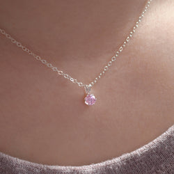 Classic Pink Cubic Zirconia Necklace for Girls