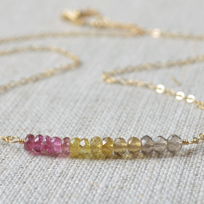 Pink and Yellow Tourmaline Necklace