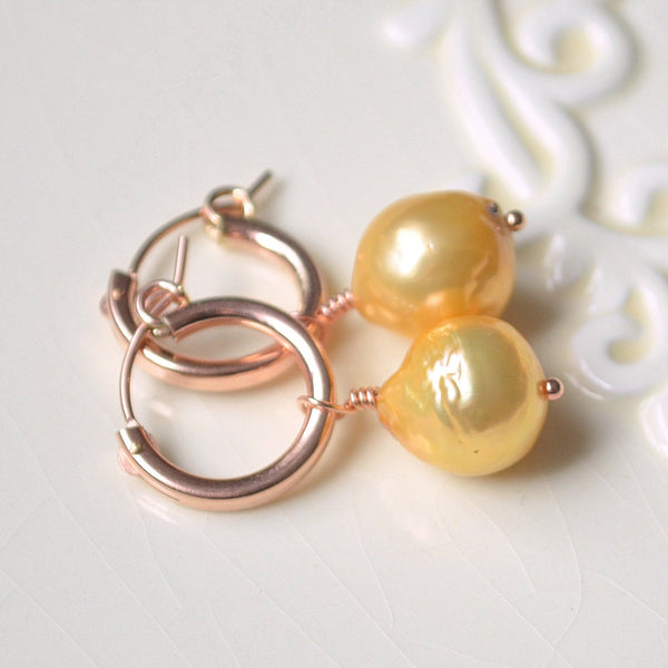Rose Gold Hoops with Yellow Pearls